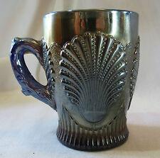 Dungan Cobalt Blue Carnival Glass Beaded Shell Mug
