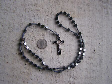 Rosary with Square Block Hematite Beads - Mexico