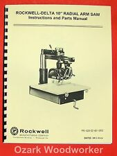 """ROCKWELL-DELTA 10"""" Radial Arm Saw Operator Part Manual 0635"""