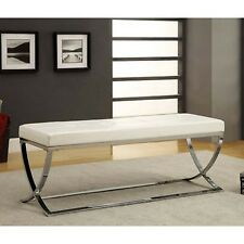 Entryway Bench Faux Leather Seat Metal Home Furniture Chrome Upholstered White