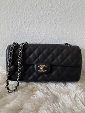 Chanel Classic East West Flap Bag Black Caviar Leather Shiny Silver