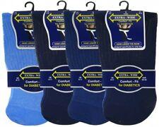 3 Pair Mens Extra-Wide Comfort fit Diabetic Socks Non Elastic Blue Mix 6-11