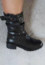 Clarks Artisan ladies Biker Boots Size 5.5 black leather flat winter low Calf