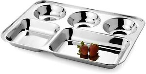 5 in 1 Stainless Steel Dining Round Square Extra Deep Compartment Dinner Plate