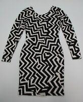 H&M Dress Women's Size XS Long Sleeve Black/White Chevron Scoop Back Bodycon