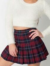 American Apparel Plaid Pleated Tennis Girl Skirt Matilda Red Navy Blue XS,S