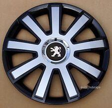 "Black/Silver 14"" wheel trims, Hub Caps, Covers to Peugeot 206 (Quantity 4)"
