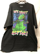 b56bd280 Mens Nickelodeon Rugrats We Want Reptar Dinosaur Vintage Black T-shirt 2xl