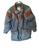 VTG 90s Current Seen Patchwork Denim Coat Womens M Snap Front Lined Jean Jacket