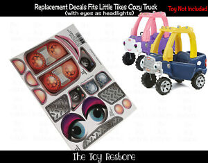 Replacement Decals fits 2017 Little Tikes Cozy Coupe Truck With Blue Eyes Girl