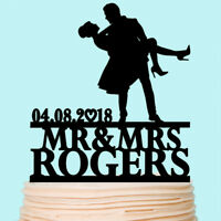 Mr and Mrs Wedding Cake Topper Bride and Groom Personalized with Last Name