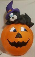 Gemmy Halloween Black Cat On Pumpkin Airblown Inflatable Yard decor 4 ft