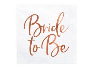 Bride To Be Rose Gold Napkins x20 Wedding Bridal Shower Hen Do Party BRIDE SQUAD