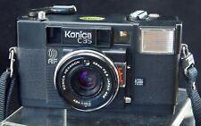 Konica C35 AF 35mm Film Camera f/2.8 Lens with Case Japan 38mm Lens Cover Strap