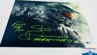 Steve Downes signed Master Chief 11X14 Metallic photo HALO BAS M62147