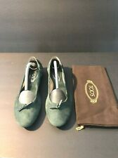 New Tod's Dee Laccetto Dark Green Ballerina Flats Shoes With Front Ties Size 39