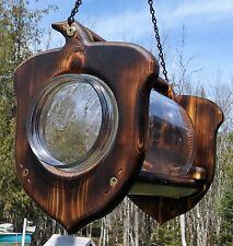 Hanging Acorn gallon glass jar squirrel feeder, square cedar wood, Tbnup #2Acb