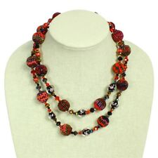 "NE506 Artisan Glass 2 Strand Beads Crystal Necklace 20"" Mayan Jewel Red Shades"