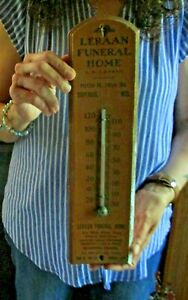 RARE ANTIQUE LERAAN FUNERAL HOME SUPERIOR WIS. ADVERTISING WOOD THERMOMETER