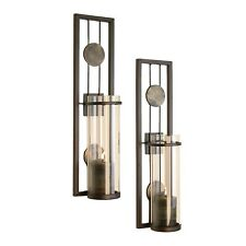 Metal Wall Decor Candle Holders Pillar Sconce Home Living Room Gift Set 2 New