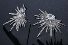 Gift Boxed Faux Diamond Cluster Paste Silver Starburst Stud Crystal Earrings UK