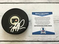 Mike Ricci Signed Autographed Philadelphia Flyers Hockey Puck Beckett BAS COA a