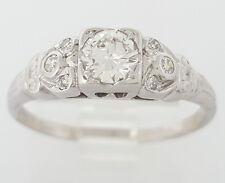 0.46 ct Vintage Platinum Transitional Brilliant Cut Diamond Engagement Ring