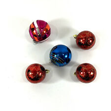 Christmas Decorative Glass Ornaments Set of 5 Red Blue Sparkle