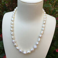 DL91 8-9x9-11mm Natural Baroque freshwater pearl white necklace AAA+ luster 46cm