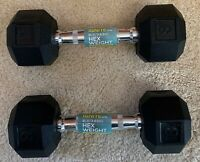 Ignite By SPRI Rubber Chrome Hex Hand Weight Dumbbell 8 Lb Pair Set