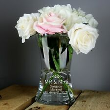 Personalised Mr and Mrs Classic Glass Vase Wedding Anniversary Valentines