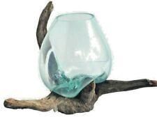 Wurzelholz Glas Vase XL, Deko Glas XL, Teakholz + Glas XL, Giant Bowl Liqva XL