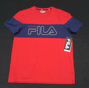 FILA  Men's Chest stripe  Crew neck Red blue cotton/Polyester