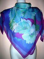 """ELAINE GOLD SHEER SCARF Summer Shawl Wrap Floral Blue Fuchsia Green Chiffon 34"""""""