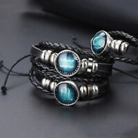 12 Constellation Bracelets Men/Women Leather Bracelet Accessories Jewelry Gifts