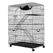 """36"""" x 24"""" x 51"""" Pet Feed 2-Tier Cat Playpen Cat Cage Abs Tray Wheels Basket Us"""