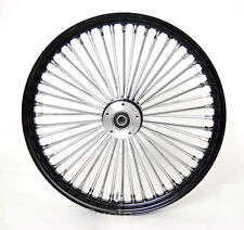 21 x2.15 BLACK FRONT WIDE GLIDE WHEEL MAMMOTH 48 FAT SPOKES DUAL DISC FIT HARLEY
