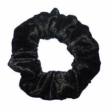 Black Crushed Velour Scrunchie Ponytail Holder Hair Accessories Made in the USA