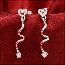 14k White Gold over 925SS Round Diamond Alternatives Dangle Heart Swirl Earrings