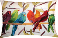 Flocked Together Birds Climaweave Indoor/Outdoor Pillow