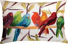 Flocked Together Birds Climaweave Indoor/Outdoor Pillow