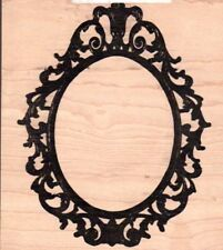 Tim Holtz Collection Ornate frame guide wood mounted Rubber stamp - New