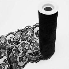 """Black Lace Wedding Tulle Roll 5.5"""" x 10 yrds Diy Party Favors Bows Crafts Sewing"""