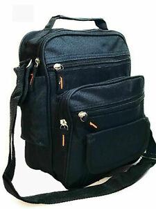 Black Canvas Bag Utility Cross Body Messenger Shoulder Travel Work Mens Ladies