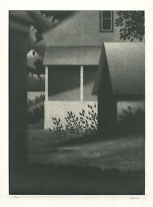 1996 Robert Kipniss Mezzotint Evening with White Porch Signed in Pencil #124/150