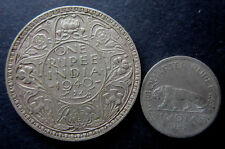 One rupee coin 1940 India + Quarter Rupee 1947