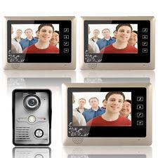 7 Inch Video Door Phone Doorbell Intercom System Kit 1-Camera 3-Monitor Night