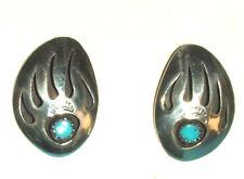 Sterling Silver Lg Bear Paw Earrings Native American Brenda Etsitty Navajo BE01