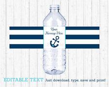 Nautical Anchor Water Bottle Labels Printable Editable PDF