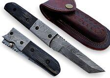 Pompey Pocket Knife Damascus Steel Blade & Bolster Horn Handle
